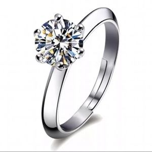 Jewelry - 925 sterling silver Adjustable CZ ring